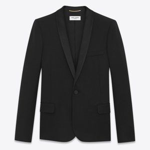 Yves Saint Laurent Womens Black Tuxedo Blazer YSL